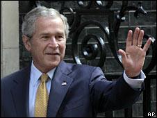 US President George W Bush in London