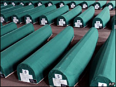 Rows of caskets containing the remains of victims of the Srebrenica massacre (file image)
