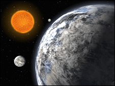 Artist's impression of super-Earth trio (Eso)