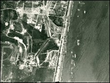 Aerial shot of D-Day