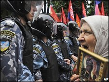 Protesters against Nato in Kiev, Ukraine