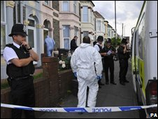 Police at the scene in Bristol