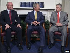 Martin Mcguinness, George Bush and Peter Robinson