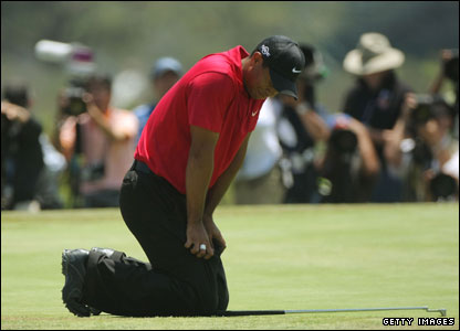 Tiger Woods at the first sudden-death play-off hole