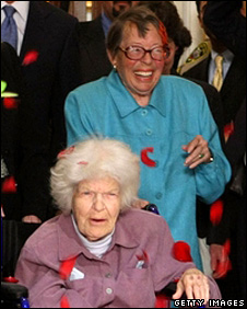 Del Martin and Phyllis Lyon leave San Fransisco City Hall (16 June 2008)