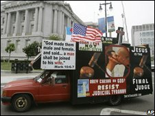 A protest truck against same-sex marriages circles around City Hall in San Francisco (16 June 2008)
