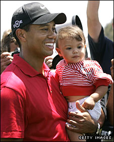 Tiger Woods with daughter Sam Alexis