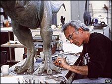 Stan Winston creating a Jurassic Park dinosaur