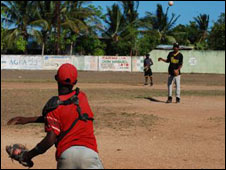 Baseball players in Dominican Republic