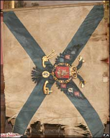 a military standard brought from the Waterloo battlefield by Sir Walter Scott, which has been found hidden in his home