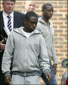 Nathan Dyer (front) and Bradley Wright-Phillips (right) leaving Portsmouth central police station