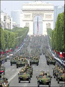 French military parade on Champs Elysees on Bastille Day 14 July 2006