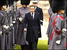 Nicolas Sarkozy inspects British troops at Windsor Castle, England, on 26 March 2008