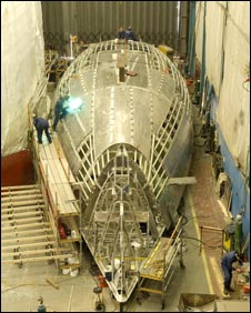 The 30m Nostromo yacht in build at the Pendennnis shipyard