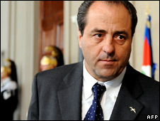 Centre-left Italian politician Antonio Di Pietro (file image)