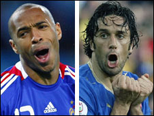 France's Thierry Henry and Italy's Luca Toni