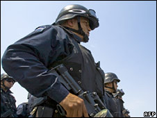 Mexican federal police officers at Culiacan airport in a file photo from May 2008