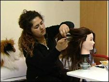 Merna Samir practices hairdressing