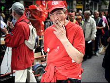 A man takes part in a strike in Lyon, eastern France