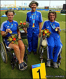 The Great Britain Women's Paralympic archery team of (l-r) Anita Chapman, Margeret Parker and Kathy Smith