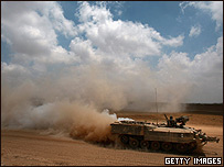 Tanque israelí cerca de Gaza.