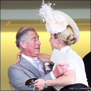 Prince Charles is greeted by his niece Zara Phillips