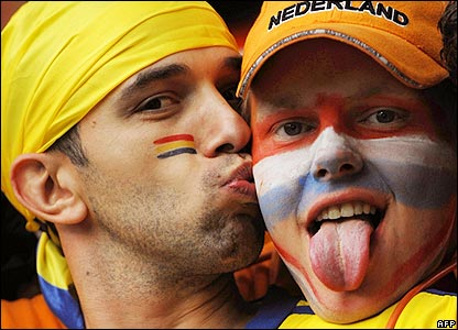 Romania and Netherlands fans wait for kick-off