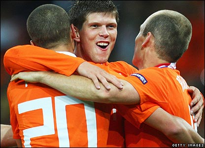 Huntelaar celebrates his goal for Holland