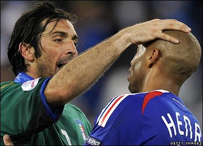 Italy goalkeeper Gianluigi Buffon consoles Henry