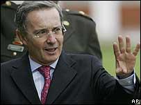 El presidente de Colombia, Álvaro Uribe