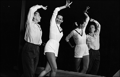 Cyd Charisse, with dance director Gene Loring, rehearses for her starring role in the film Mark Of The Renegade