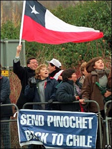 Anti-Pinochet protesters during his time in the UK