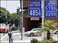 Petrol prices on display in Beverly Hills, California, on 13 June
