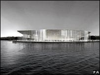 The stadium will sit right in the waterfront by Portsmouth harbour