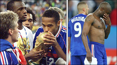France win the 1998 World Cup (left) and are eliminated from the 2008 European Championship