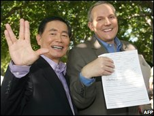 George Takei and Brad Altman with their licence