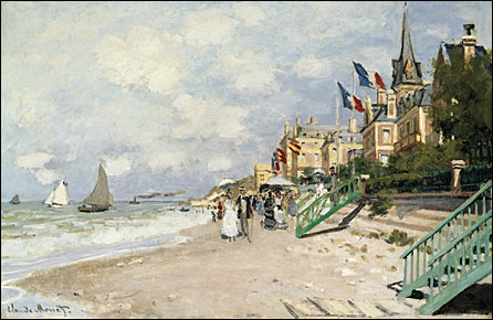 La Plage a Trouville, 1870, by Claude Monet