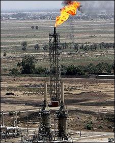 Oil refinery tower near Baghdad