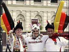 German supporters in Vienna, Austria, for the Euro 2008 Germany v Austria match