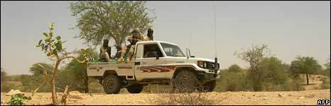 A truck with Chadian soldiers in eastern Chad near the border with Sudan