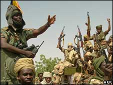 Celebrating Chadian soldiers