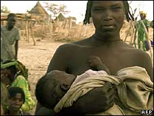 A displaced family in a camp in Chad