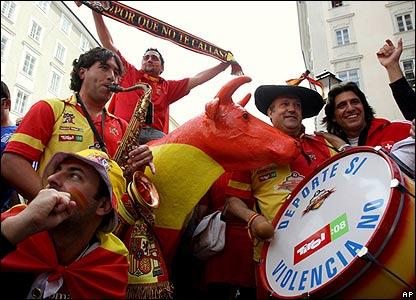 Spanish fans gather in Salzburg