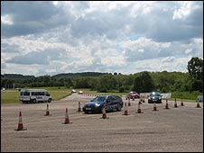 Cars arriving back after a spin at the Millbrook Proving Grounds