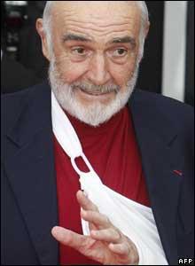 Festival patron Sir Sean Connery had his arm in a sling