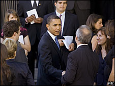 Barack Obama at the funeral of Tim Russert, 19 June 2008
