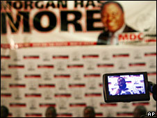 A television camera records an MDC press conference in April in Harare, Zimbabwe
