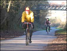 Cyclists on the Bristol to Bath cycle path: photo Chris Kelly