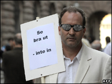 A man protests against the law in Stockholm, Sweden