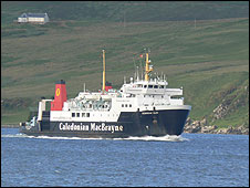 Cal Mac ferry Hebridean Isles enters Port Ellen on the isle of Islay